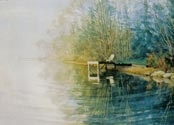 Painting of Becky's pond - foggy morning dock